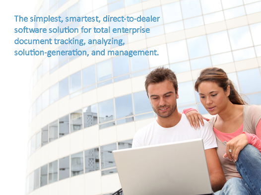 couple in front of a glass building looking at a laptop together, text: direct-to-dealer software solution for total enterprise document tracking, analyzing, solution-generation, and management.