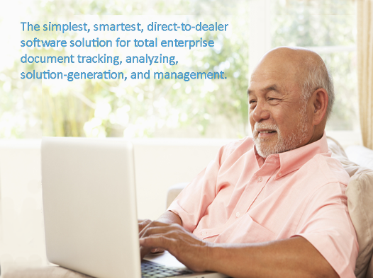 elderly man at home office with computer, text: direct-to-dealer software solution for total enterprise document tracking, analyzing, solution-generation, and management.